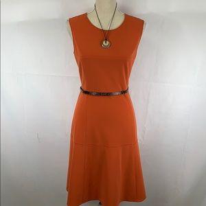Calvin Klein orange fit n flair dress with belt